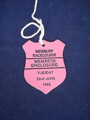 2 - Horse racing - Card Badge - Newbury - Members - 22nd June 1993