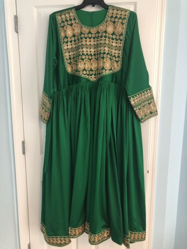 Used Plus Size Afghan Afghani Desi Clothes Dress Green Gold Embroidery 3 Piece