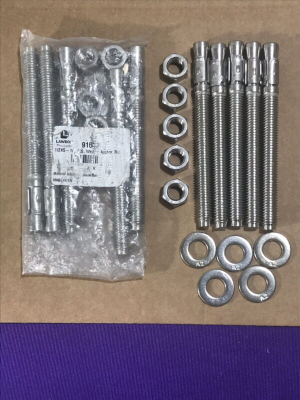 "(10) Lawson Wedge Type Stud Bolt Anchors In Stainless Steel 1/2"" x 5-1/2""  91632"
