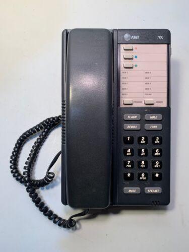AT&T BLACK LANDLINE  SPEAKER DESK PHONE 706 ( MUTE - HOLD - REDAIL - & MORE ! )