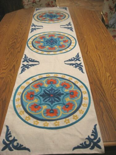 PIER 1 Mexican Motif Embroidery on Heavy Cotton/Linen Table Runner - NEW