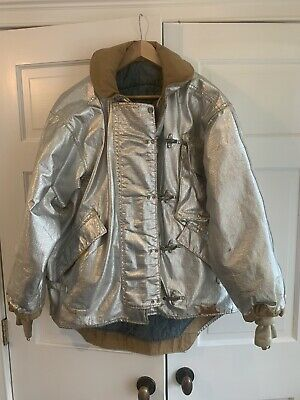 Vintage Firefighter Jacket Aluminized Turnout Bunker Fire Gear Gore-tex