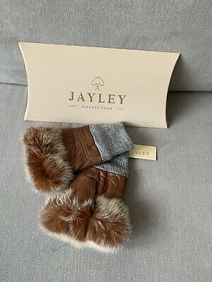 Jayley Collection Women's Leather Fur Trim Fingerless Gloves In Brown