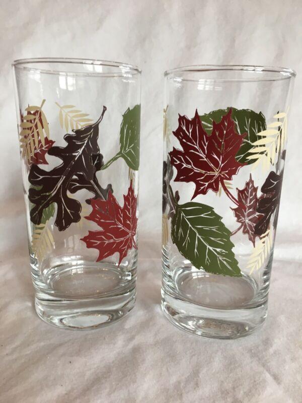 """2 Vintage Libbey Tumblers Highball Iced Tea Glasses 6"""" Autum Fall Leaves Leaf"""
