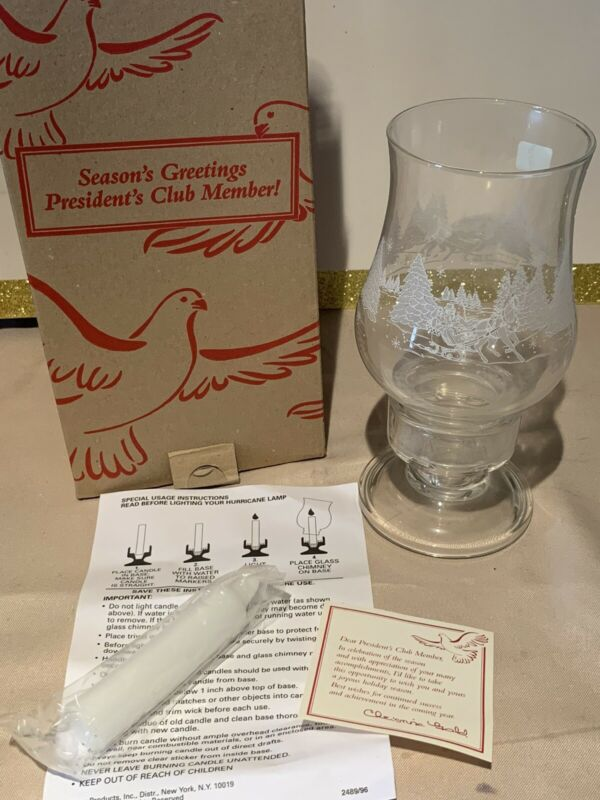 VINTAGE 1996 Presidents Club Holiday Gift...Hurricane Candle Holder...by Avon