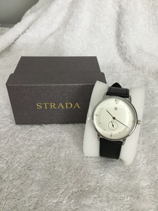 Strada+Water+Resistance+Stainless+Steel+%26+Black+Watch+New+Size+7%E2%80%9D%2F9%E2%80%9D