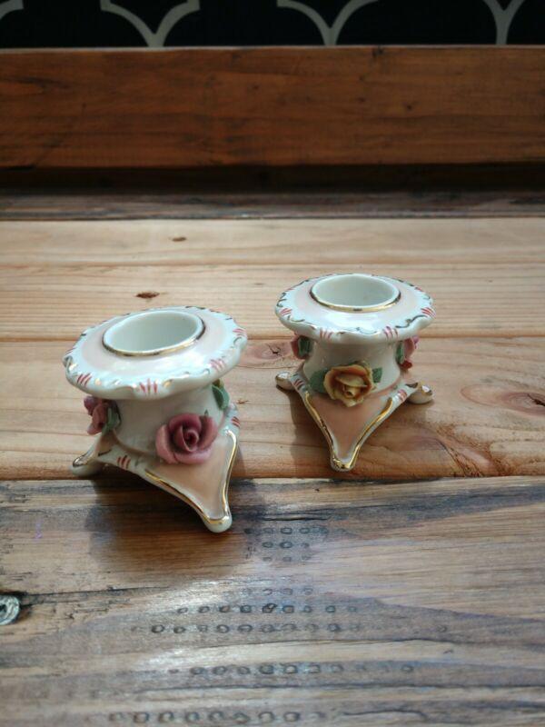 Vintage F.W 1940s-1960s rose porcelain candlestick holders