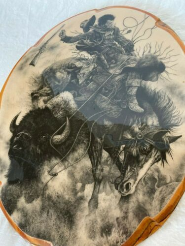 Wall Plaque Western Cowboy Buffalo America West Large Lacquered Wood 20x15.5