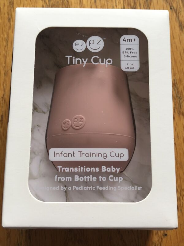 ezpz Tiny Cup Infant Baby Training Cup for Infants, Blush 2oz BOA Free 4 Month+