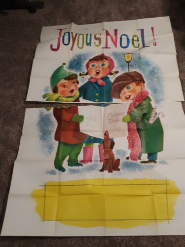 1959 Douglas Fir Plywood Paste-On Graphics Joyous Noel Carolers Lawn Art Large