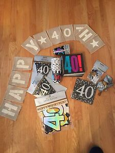 40th birthday decorations, bunting, napkins, forty, fortieth