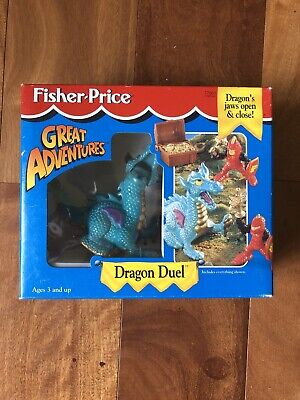 Fisher Price Great Adventures Vintage Dragon Duel Knight Red Black Castle NEW!!