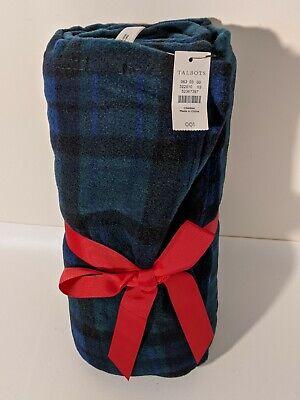 Talbots Navy Blue & Green Blackwatch Plaid Fleece Blanket Throw 56 X 72 In NEW