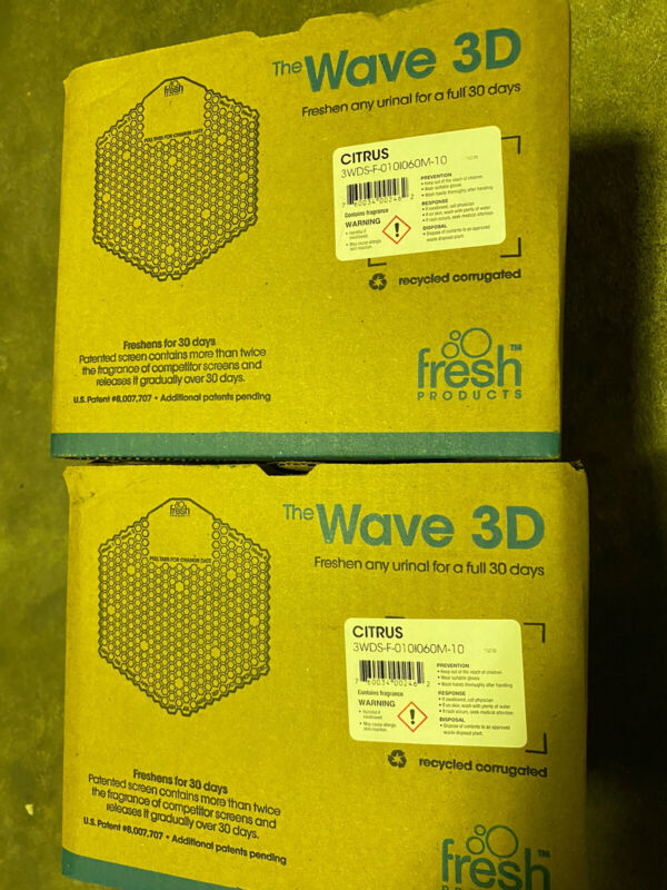 Fresh Products Wave 3D Urinal Deodorizer Screen Yellow Citrus 10/Box Double Pack