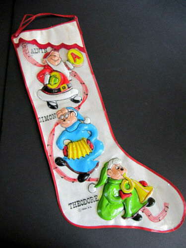 "Vtg Alvin Chipmunks Christmas Stocking 1964 Vacuform blowmold vinyl Plastic 24"""