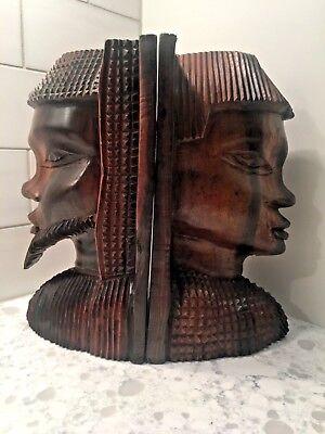 Vintage Hand Carved Ebony Wooden Book Ends African Tribal Wood Face Bookends #Sh for sale  Salem