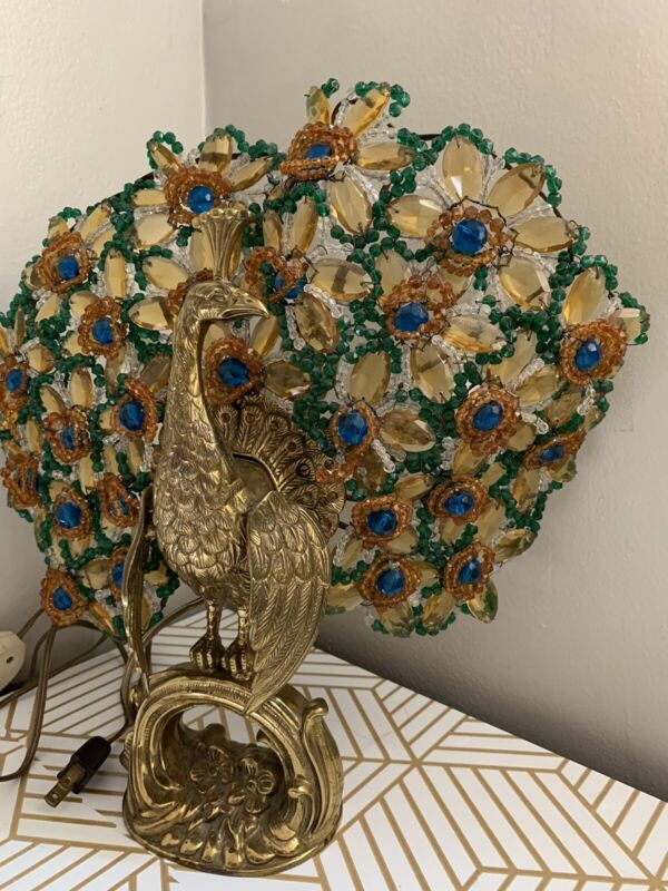 Vintage Beaded Peacock Brass Table Lamp