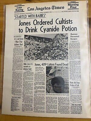 VINTAGE NEWSPAPER HEADLINE~JIM JONES SUICIDE MURDER JONESTOWN 400 CULT DEAD 1978