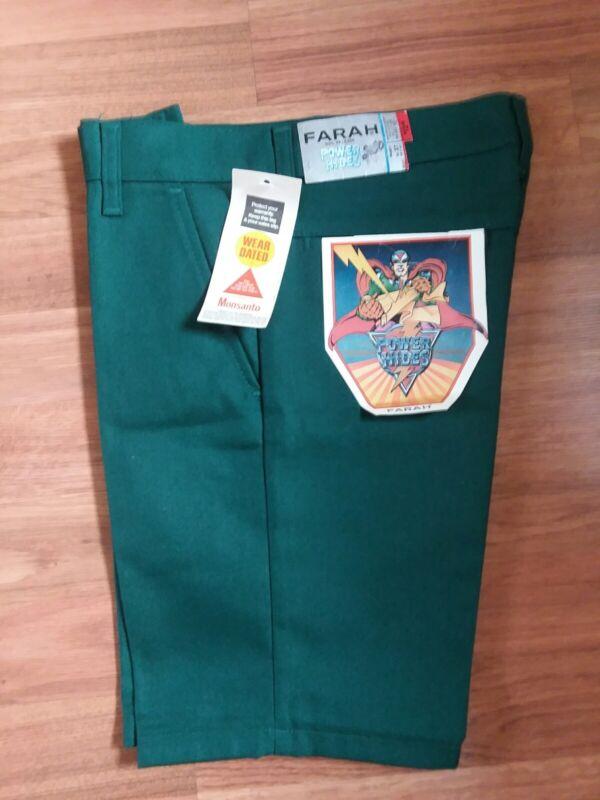 Farah Boys Shorts Green 27 Power Hides New USA Rare Vintage Collectible