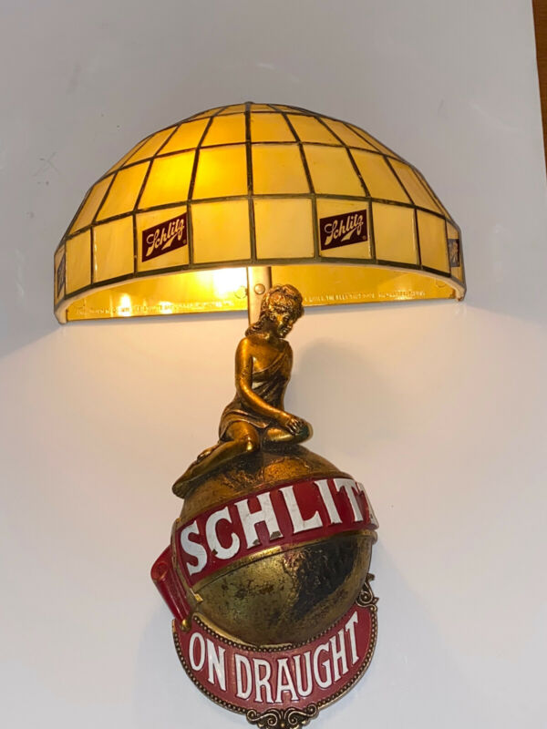 Vintage 1971 SCHLITZ BEER TIFFANY LADIES ON TOP BAR LIGHT PUB SIGN Rare Mint