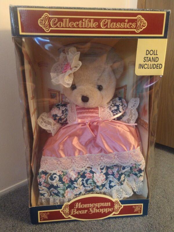 VNTG Homespun Bear Shoppe Bear Lace Trimmed Dress- Never Opened!!