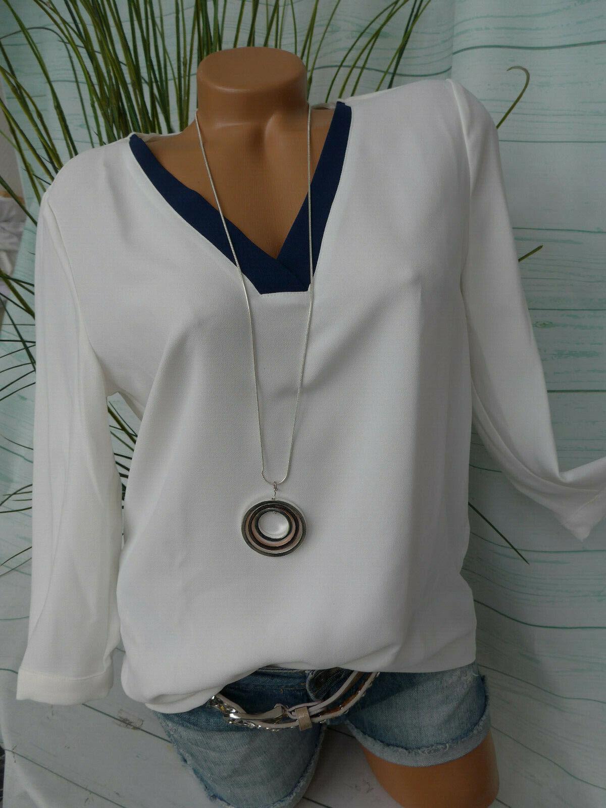 Esprit EDC Shirt Bluse Damen Gr. 36 bis 44 weiß mit Rand blau (414) NEU