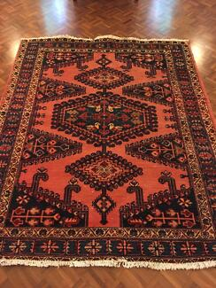 Medium antique Persian Tribal rug with pink/red/blue/cream colors