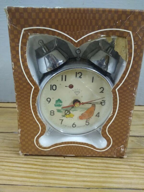 Vintage Diamond Alarm Clock Pecking Chicken Made In Shanghai China