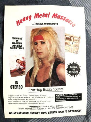DAVID DEFALCO / HEAVY METAL MASSACRE / BOBI YOUNG HORROR MOVIE MAGAZINE PRINT AD