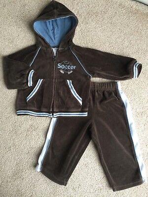 Miniwear Baby Boy Velour Track Suit Jacket & Pants Brown Soccer Size 6-9 Months