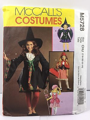 McCall Pattern M5728 CHJ  SZ 7-14 Costumes Witch Little Bo Peep And Riding Hood