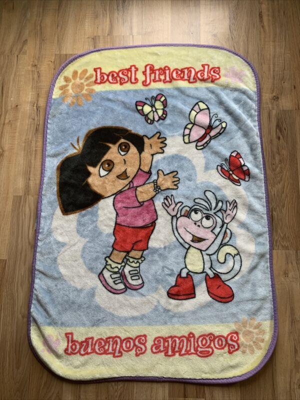 VTG Dora the Explorer Star Plush Fleece Toddler Blanket Throw Best Friends 30x42