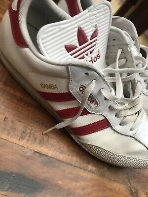 Adidas Samba White And Red Uk 11 Vintage Rare Casual Trainers