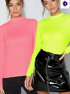 BRAND NEW STUDIO PACK OF LONG SLEEVE HIGH NECK RIB TOPS NEON COLOURS SIZE 12-14 segunda mano  Embacar hacia Spain