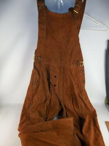 LENCO Brown Leather Welding Bib, Size XL, Overalls