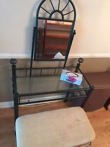 Makeup vanity and chair