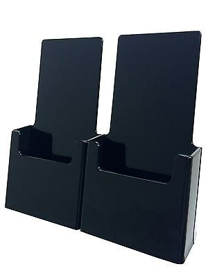 Twin Black Tri Fold Display Stand For 4 Wide Literature Brochure Holder Qty 12