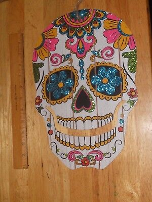 Flat Skull Wall or Door Hang DOES NOT SAY Any OCCASION All Souls Day of The Dead - All Souls Day Halloween
