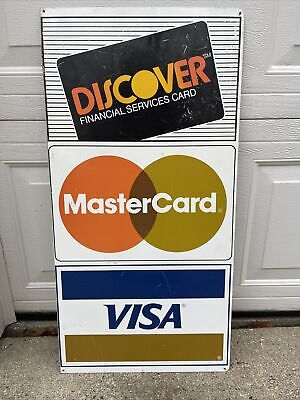 Credit Card Discovery Amex Mastercard Visa Double Sided Aluminum Sign Wall Moun