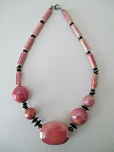 """Chinese Porcelain Pink Lusterware NECKLACE 18"""" Multi Size Beads Unusual Vtg  ZJ"""