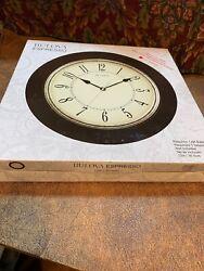 New Bulova Wall Clock Espresso Solid Wood Quiet Sweep C4256