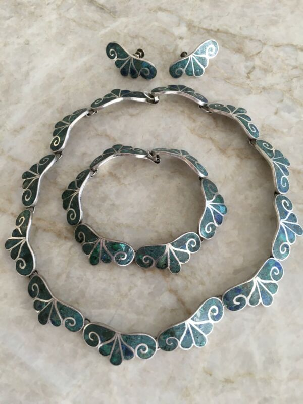 Vintage Scroll Inlay Turquoise Sterling Silver Necklace, Bracelet, Earrings