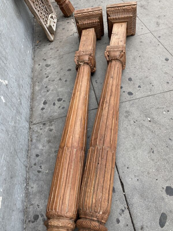 Old Wood Carved Moroccan Style Columns Pillars