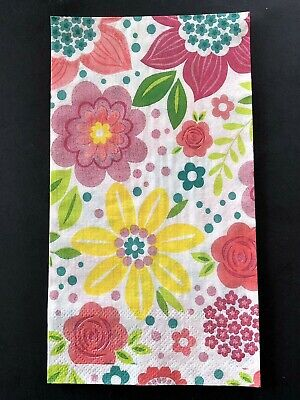 NEW Pink and Yellow Flowers Paper Guest Towels Napkins Decoupage Lot of 3