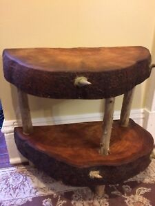 Locally made two tier table from a burl