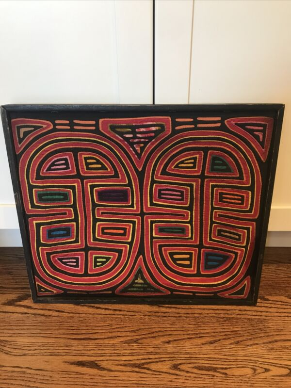 Beautiful Mola hand-sewn cloth, Panama Kuna Indian Art, Abstract Design Frame