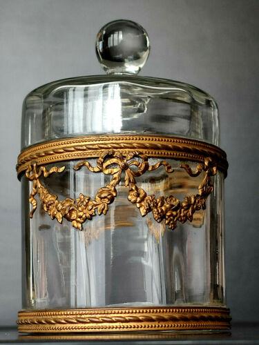 French Crystal Vanity Box, Gilt Bronze Ormolu, c. 1890