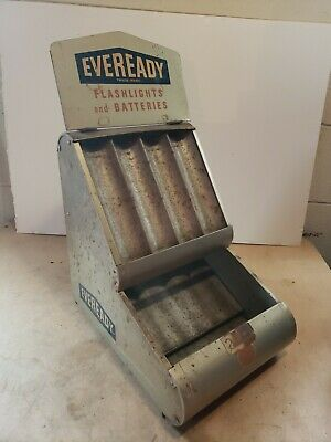 Vintage Eveready Flashlights And Batteries Countertop Display ~ Country Store