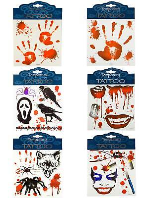 Klebe-Tattoos Halloween Blutig Kostüm Accessoires Tattoo](Halloween Blutig)