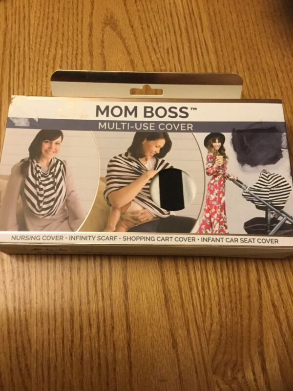 Itzy Ritzy Mom Boss 4-in-1 Multi-Use Nursing Car Seat Cover Black/White Striped